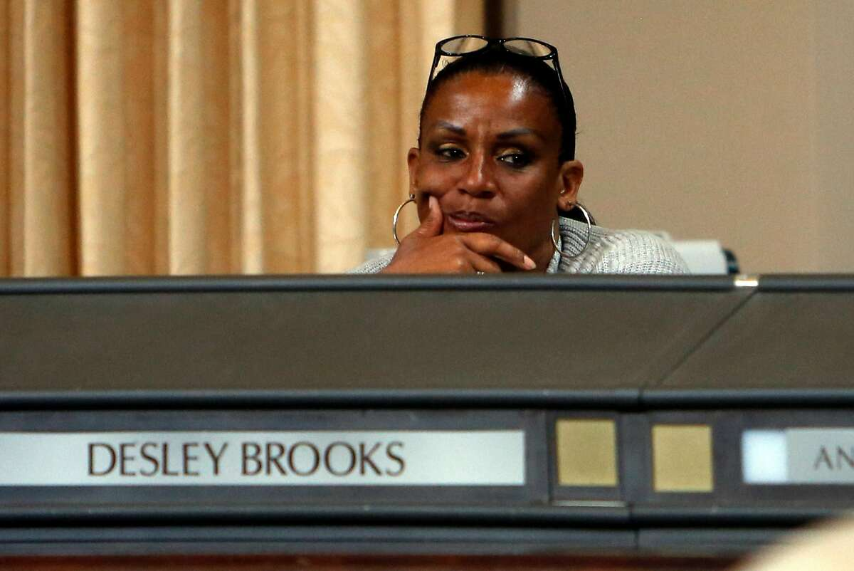 Councilmember Desley Brooks listens during a special meeting of the Oakland City Council to hear comments and discuss 2015-2017 budget in Oakland, Calif., on Monday, June 22, 2015.