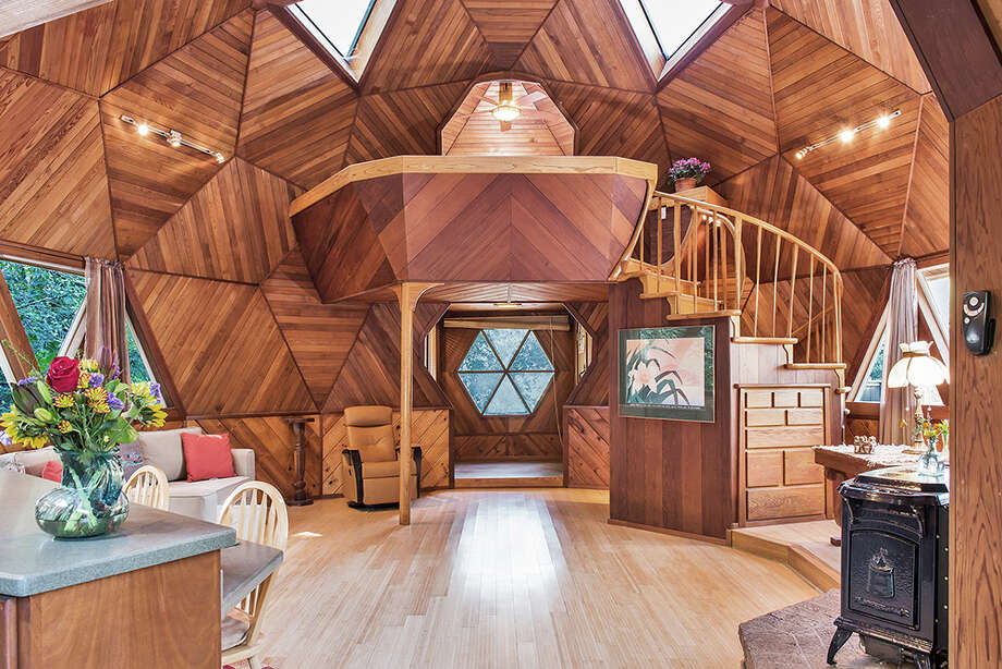 A one-bedroom, one-bathroom geodesic dome among the trees of Guerneville is on the market for $475,000. Photo:  Brian McCloud