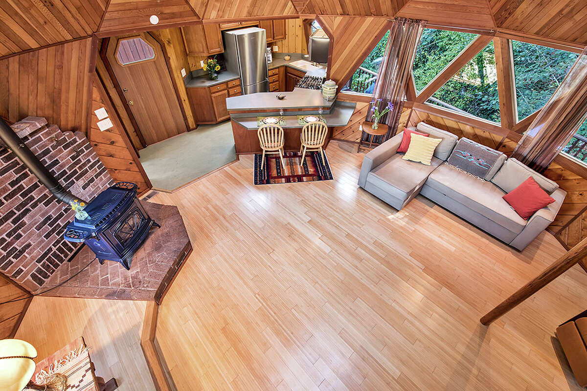 A one-bedroom, one-bathroom geodesic dome among the trees of Guerneville is on the market for $475,000.