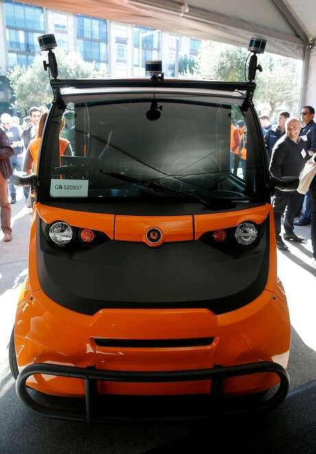 Udelv unveils a driverless grocery delivery van at Draegers Market in San Mateo, Calif. on Tuesday, Jan. 30, 2018.