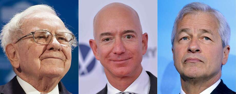 (COMBO) This combination of pictures created on January 30, 2018 shows (L-R) file photos of Chairman and CEO of Berkshire Hathaway Warren Buffett in Washington, DC, on June 14, 2016; Amazon CEO Jeff Bezos in Washington, DC, on December 14, 2017;  and JP Morgan Chase's Chairman and CEO Jamie Dimon in Paris on July 11, 2017. Photo: SAUL LOEB, AFP/Getty Images