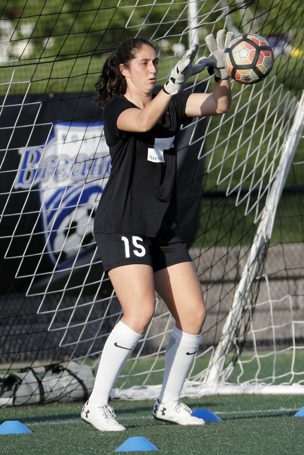 BOSTON, MA - MAY 19: Boston Breakers goalkeeper Sammy Jo Prudhomme (15) during warm up before an NWSL regular season match between the Boston Breakers and Portland Thorns FC on May 19, 2017, at Jordan Field in Boston, Massachusetts. Portland and Boston played to a 2-2 draw. (Photo by Fred Kfoury III/Icon Sportswire via Getty Images)