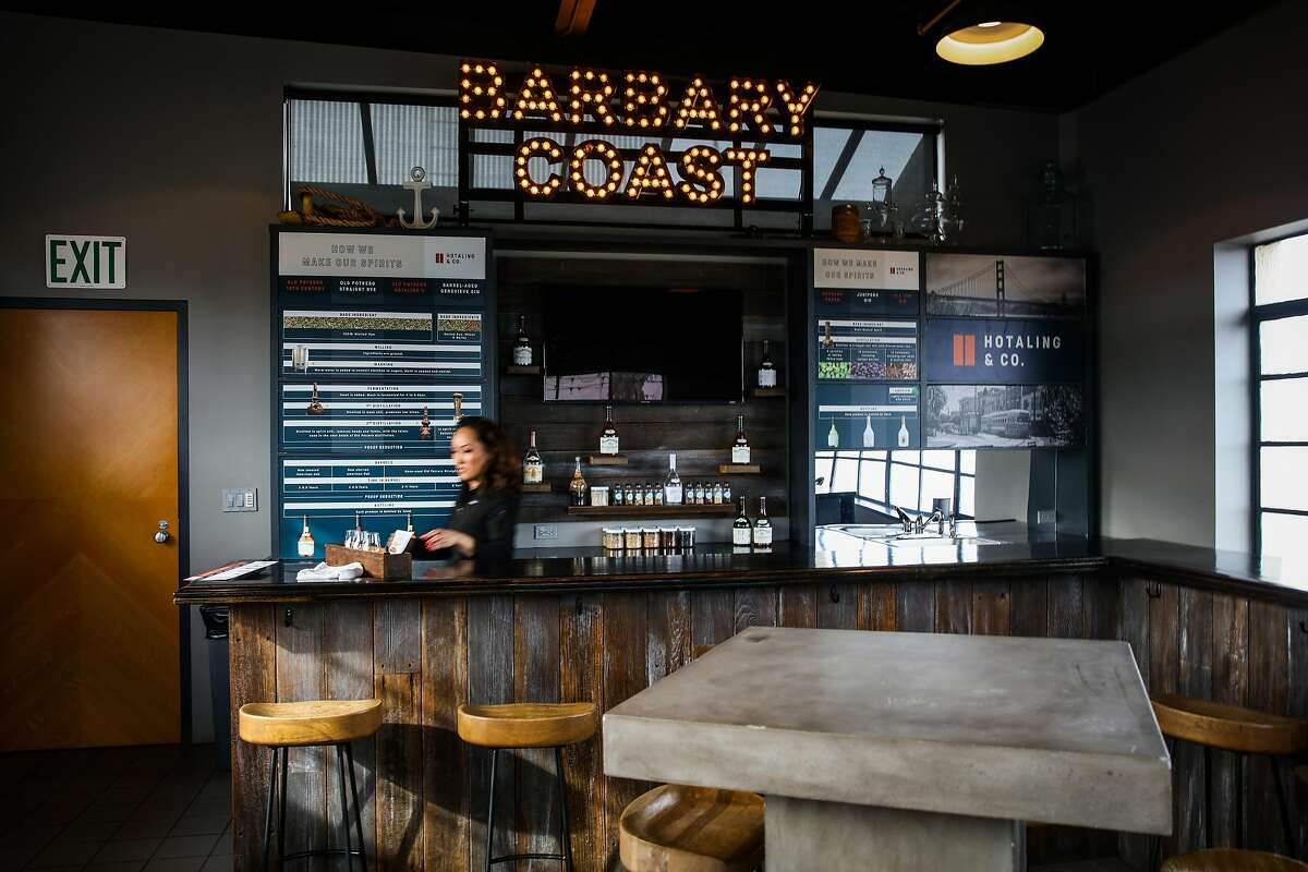 Liz Brusca organizes the tasting room at Anchor Distilling in San Francisco, California, on Monday, Jan. 29, 2018.