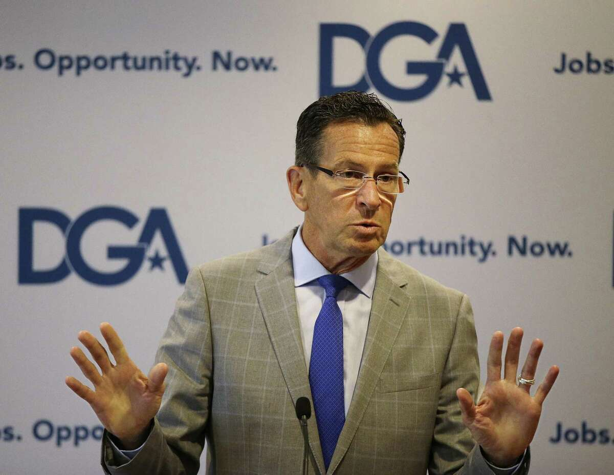 Connecticut Democratic Gov. Dannel Malloy addresses a Democratic Governors joint news conference in 2014.
