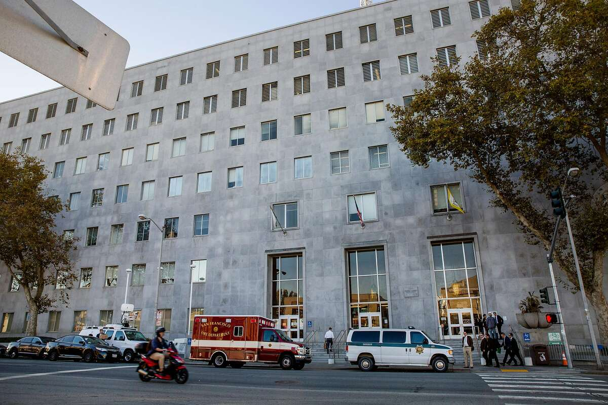 The Hall of Justice, Thursday, Oct. 26, 2017, in San Francisco, Calif. The Board of Supervisors will vote Tuesday on whether to approve three property leases that would allow various city departments to move out of the old Hall of Justice, but three supervisors might hold up the process because they think the city should purchase new buildings rather than lease them.