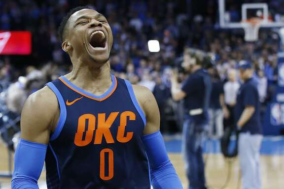 Oklahoma City Thunder guard Russell Westbrook during an NBA basketball game against the Philadelphia 76ers in Oklahoma City, Sunday, Jan. 28, 2018. (AP Photo/Sue Ogrocki)