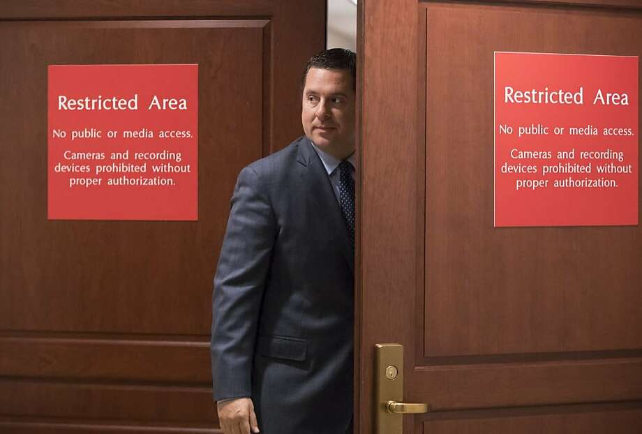 Rep. Devin Nunes, R-Tulare, returns to a secure area of the Capitol last month while his panel works on the Russia investigation. Photo: J. Scott Applewhite, Associated Press