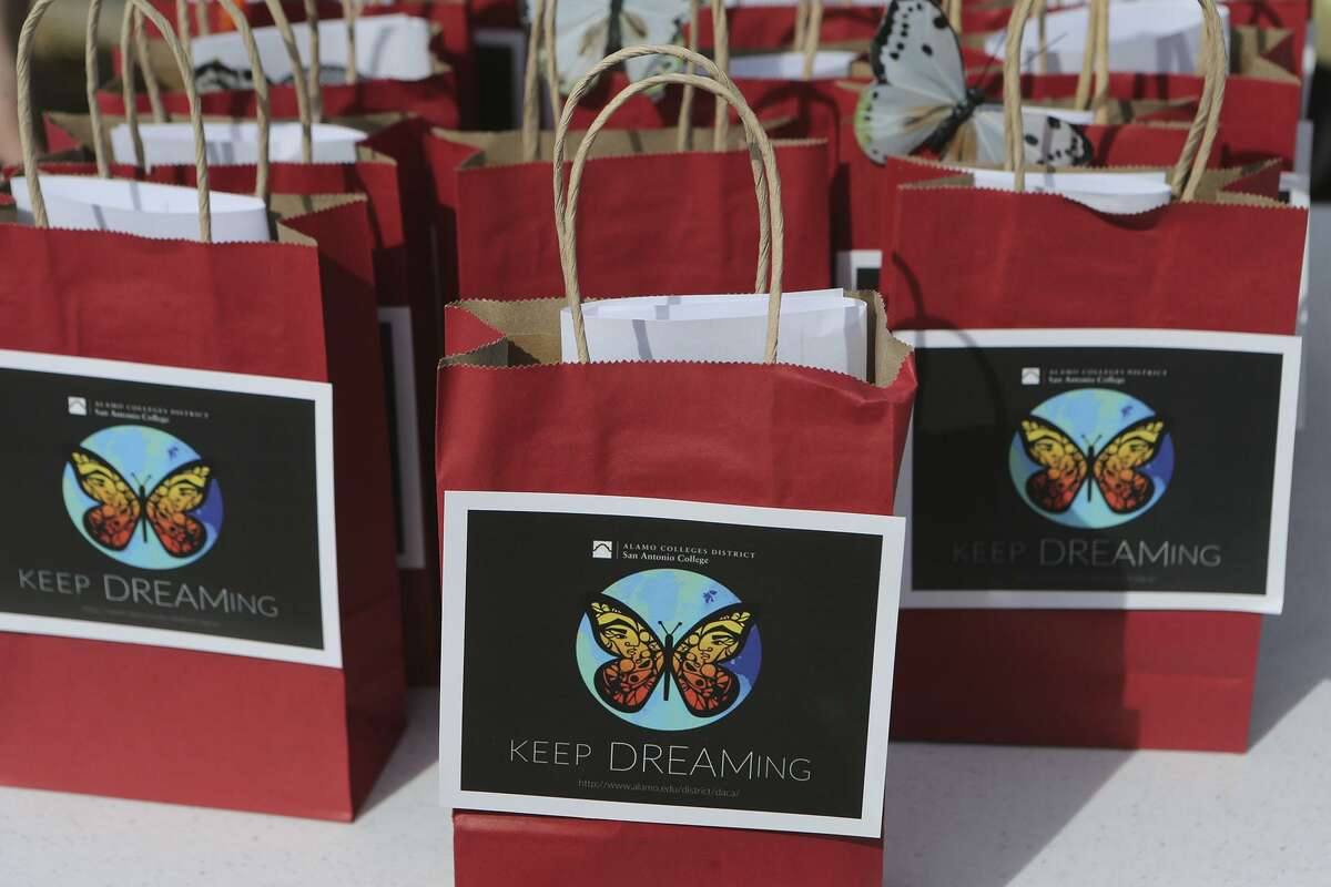 Bags containg free goodies and information for undocumented students at San Antonio College were available Tuesday January 30, 2018 during an information session held there near the Loftin Student Center.