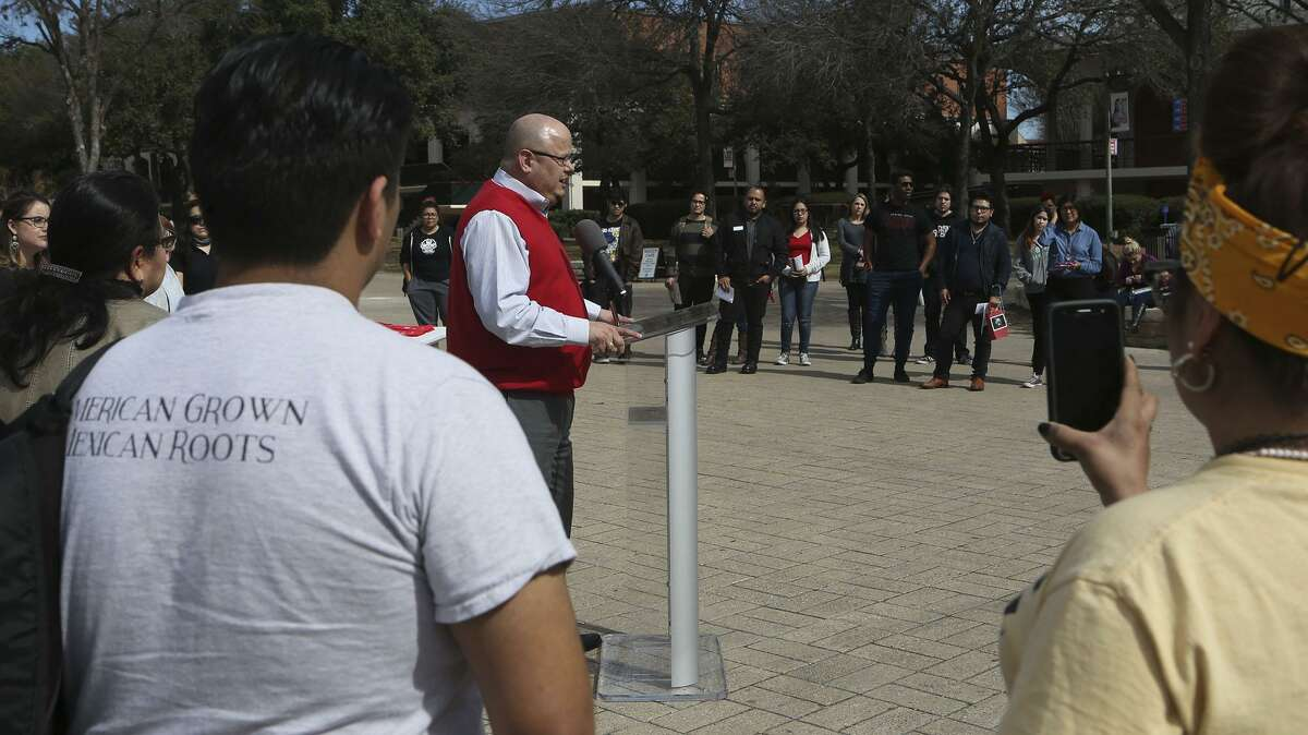 San Antonio College President Dr. Robert Vela speaks Jan. 30 about undocumented students at the school.