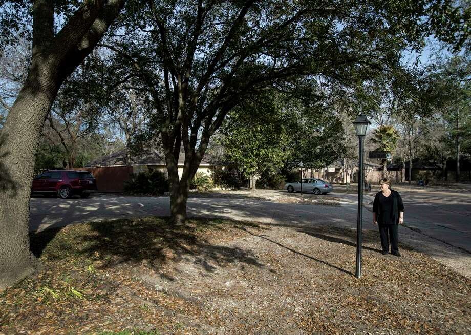 Trish Hagner, who incurred a $1,000 water bill after rescue equipment broke her water meter during Hurricane Harvey, looks over her yard as she sweeps up fallen leaves, Tuesday, Jan. 30, 2018, in Houston. Ruts in her yard, from the equipment, are still visible five months after the storm.  ( Jon Shapley / Houston Chronicle ) Photo: Jon Shapley, Houston Chronicle / © 2017 Houston Chronicle