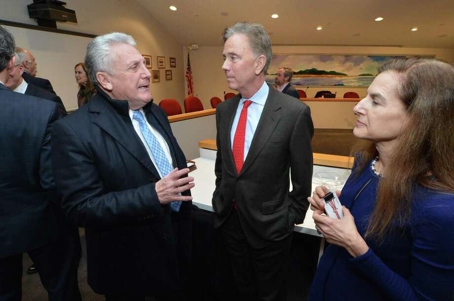 Norwalk Mayor Harry Rilling talks with gubernatorial candidates Ned Lamont and Susan Bysiewicz during a Norwalk Democratic Town Committee forum at Norwalk City Hall on Monday. Photo: Alex Von Kleydorff / Hearst Connecticut Media / Norwalk Hour