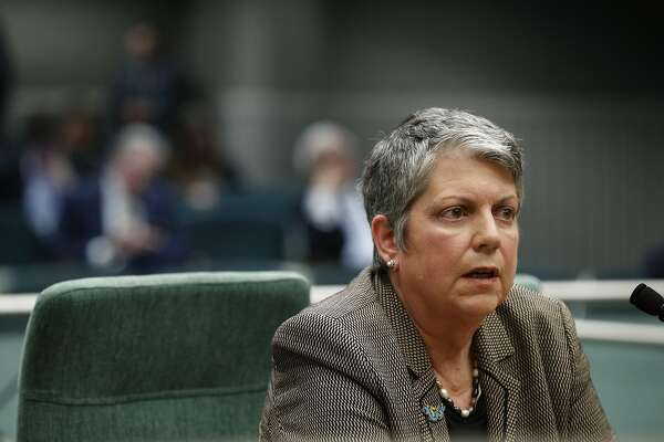 UC President Janet Napolitano presents her comments to the committee at the California State Capitol, in Sacramento, Calif., on Tuesday Jan. 30, 2018. A joint legislative hearing on an investigative report from Carlos Moreno, the retired Calif Supreme Court justice, looked into whether UC President Janet Napolitano's office interfered with a state audit and found that it did.