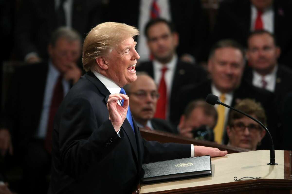 President Donald J. Trump delivers the State of the Union address in the chamber of the U.S. House of Representatives January 30, 2018 in Washington, DC. This is the first State of the Union address given by U.S. President Donald Trump and his second joint-session address to Congress. (Photo by Mark Wilson/Getty Images)