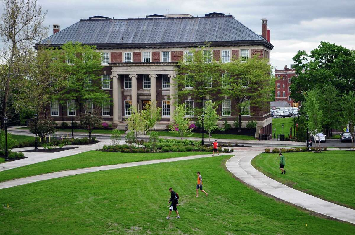 FILE - Students walk on the RPI campus on Wednesday May 18, 2011 in Troy, NY. (Philip Kamrass / Times Union)