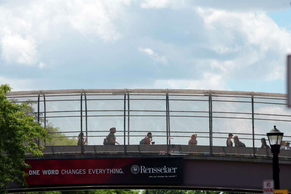 Students on the RPI campus in Troy, N.Y., where the administration has instituted a stricter alcohol policy that takes effect May 19, 2019. (Paul Buckowski / Times Union)