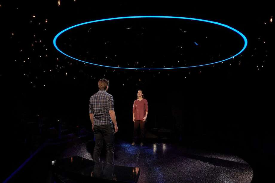 "M. Scott McLean and Allison Pistorius star in ""Constellations."" Photo: Photo By Lanny Nagler"