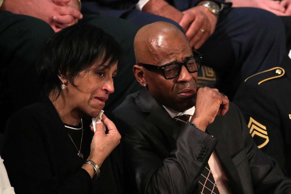WASHINGTON, DC - JANUARY 30: Evelyn Rodriguez and Freddy Cuevas, parents of children who were murdered by MS-13 watch as U.S. President Donald J. Trump delivers the State of the Union address in the chamber of the U.S. House of Representatives January 30, 2018 in Washington, DC. This is the first State of the Union address given by U.S. President Donald Trump and his second joint-session address to Congress. (Photo by Alex Wong/Getty Images)