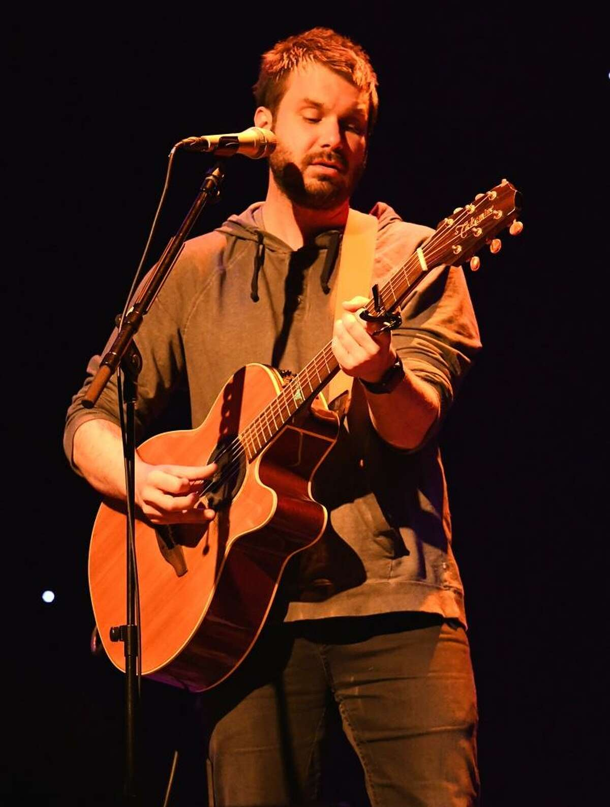 """Singer, songwriter and guitarist, Howie Day is shown on stage during his ?""""live?"""" solo performance at the Infinity Music Hall in Hartford on Jan. 26. To learn more this musician from Bangor, ME, visit www.howieday.com"""