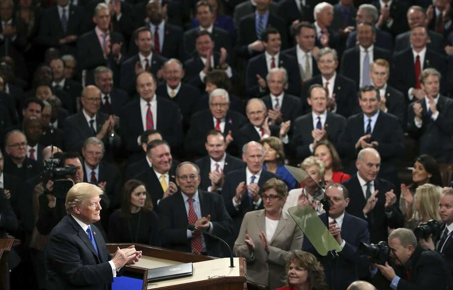 President Trump delivers his first State of the Union address in the chamber of the U.S. House of Representatives. Photo: Mark Wilson / Getty Images / 2018 Getty Images
