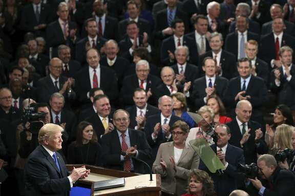 President Trump delivers his first State of the Union address in the chamber of the U.S. House of Representatives.