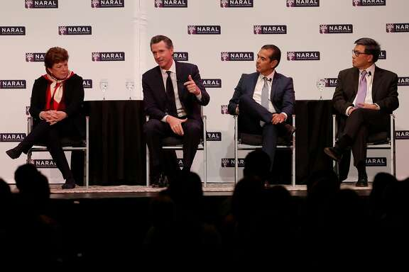 Lt. Gov. Gavin Newsom answers a question during a debate/candidate forum featuring the top four Democratic candidates for California governor. The event was sponsored by NARAL -- the national abortion rights action league at the SOMArts Culture Center in San Francisco, Calif., on Tuesday, January 30, 2018.
