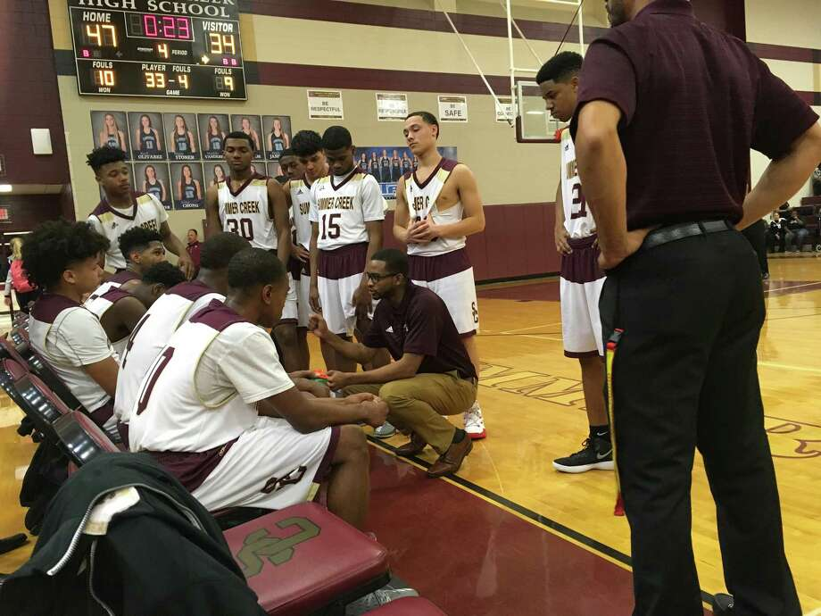 Summer Creek basketball coach Kevin Woods talks to his team during a timeout in the fourth quarter of their game against Kingwood on Jan. 30 at Summer Creek High School Photo: Elliott Lapin