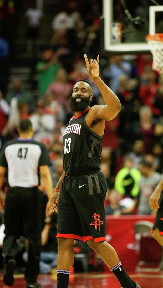 Houston Rockets guard James Harden (13) smiles at the crowd after scoring in the 4th-quarter of an NBA basketball game at Toyota Center on Tuesday, Jan. 30, 2018, in Houston. ( Steve Gonzales / Houston Chronicle ) Photo: Steve Gonzales, Houston Chronicle / © 2018 Houston Chronicle