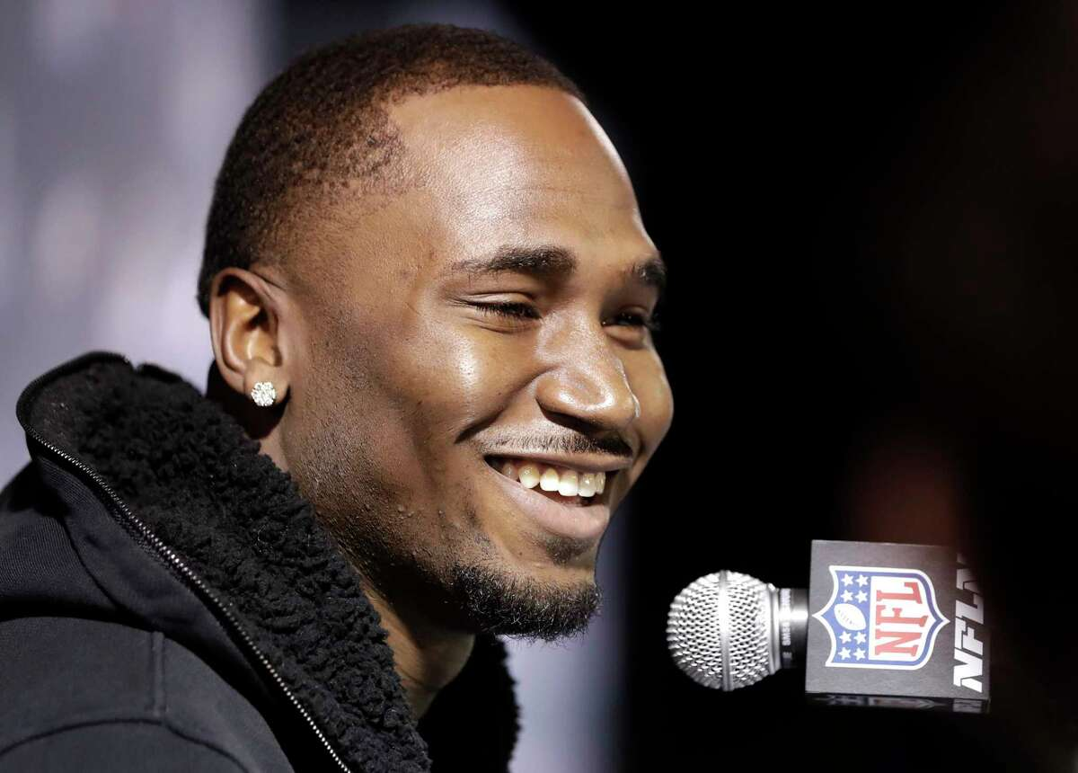 New England Patriots running back Dion Lewis answers questions during a news conference Tuesday, Jan. 30, 2018, in Minneapolis. The Patriots are scheduled to face the Philadelphia Eagles in the NFL Super Bowl 52 football game Sunday, Feb. 4. (AP Photo/Mark Humphrey)