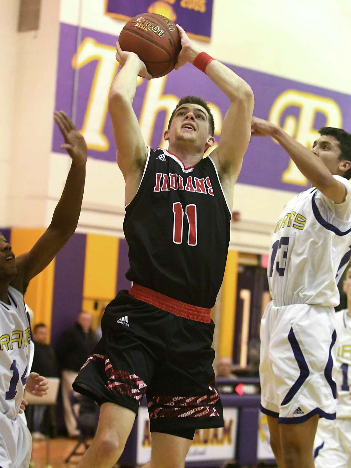 Glens Falls' Joseph Girard III drives to the basket during a basketball game against Amsterdam on Tuesday, Jan. 30, 2018 in Amsterdam, N.Y. (Lori Van Buren/Times Union)