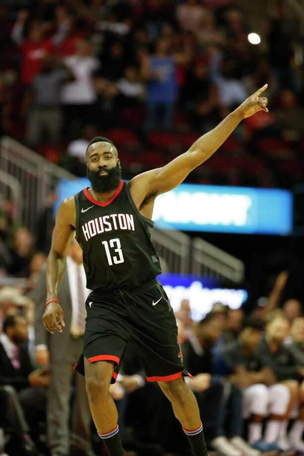 Houston Rockets guard James Harden (13) pointed to the goal after he scored in the 4th-quarter of an NBA basketball game at Toyota Center on Tuesday, Jan. 30, 2018, in Houston. ( Steve Gonzales / Houston Chronicle ) Photo: Steve Gonzales, Houston Chronicle / © 2018 Houston Chronicle