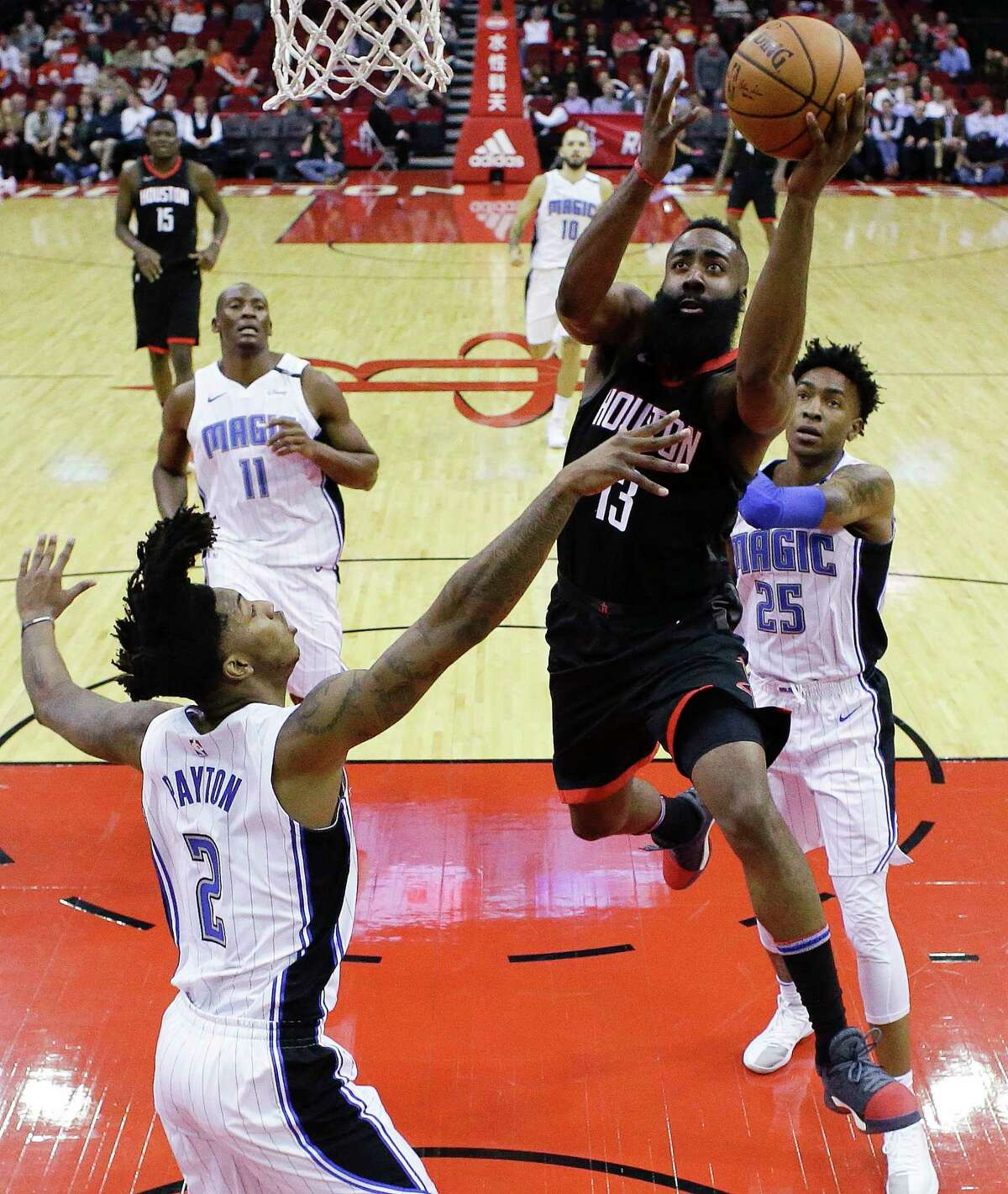 Houston Rockets guard James Harden drives to the basket as Orlando Magic guard Elfrid Payton, left, defends during the first half of an NBA basketball game Tuesday, Jan. 30, 2018, in Houston. (AP Photo/Eric Christian Smith)