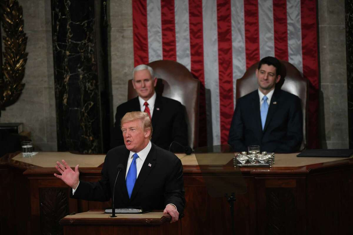 President Donald Trump delivers his first State of the Union address as Vice President Mike Pence and House Speaker Paul Ryan, R-Wis., listen. Trump highlighted his achievements over the past year, including tax cuts and rollbacks of parts of the Affordable Care Act.Researchers fear that changes to the Affordable Care Act could result in hundreds of thousands of Californians becoming uninsured by 2023.