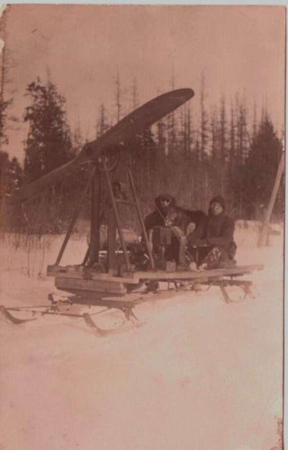 A testament to the inventiveness of Benzie County citizens, pictured is an early 1900's propeller driven snow machine. (Courtesy photo)