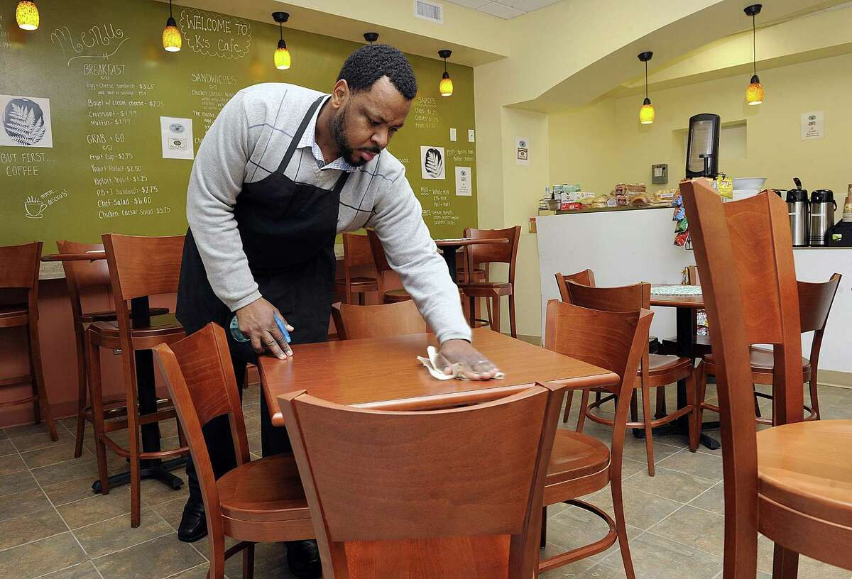 Kervin Francois, 35, of Milford, has opened up K's Cafe in a city-owned space next to the Danbury Library. Photo Tuesday, January 30, 2018.