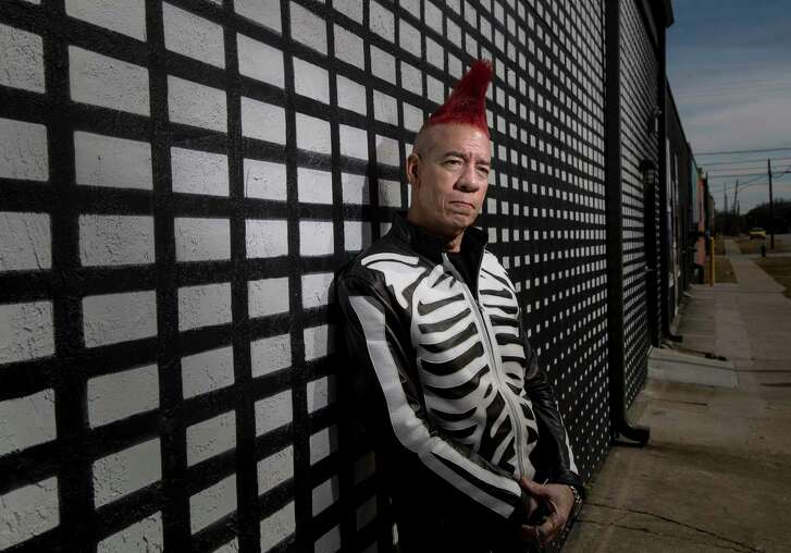 "Christian Kidd, who has played with the Houston-based punk band ""The Hates"" for over 40 years, poses for a portrait near downtown, Tuesday, Jan. 23, 2018, in Houston. In 2017, Kidd was diagnosed with a cancerous growth on his tongue. After a year of treatment he is healthy and planning to return to the stage.  ( Jon Shapley / Houston Chronicle )"