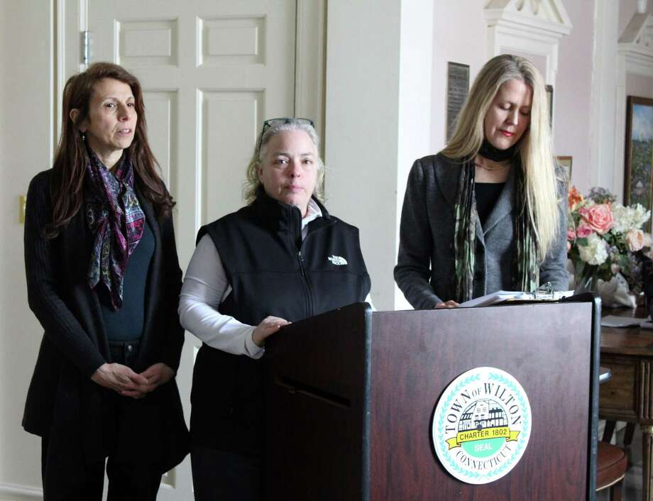 Wilton Go Green members announce progress on the school district's Zero Waste Initiative Tuesday, Jan. 30, 2018, at Town Hall. Photo: Stephanie Kim / Hearst Connecticut Media