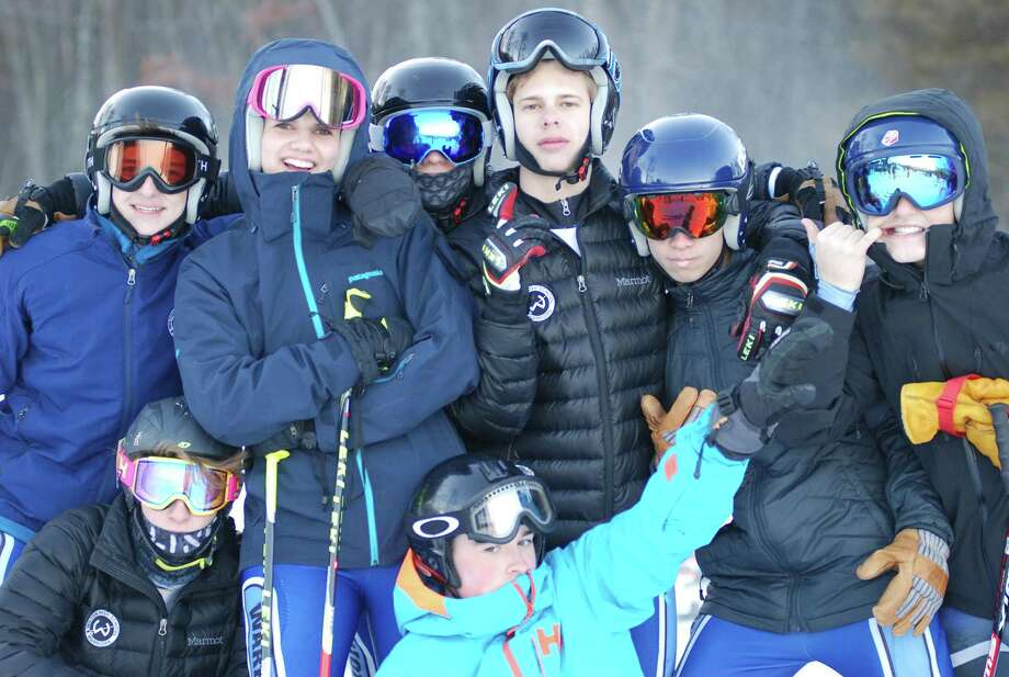 Members of the Wilton boys ski team pose for a photo during last week's meet at Mount Southington. Photo: John Nash / Hearst Connecticut Media / Norwalk Hour
