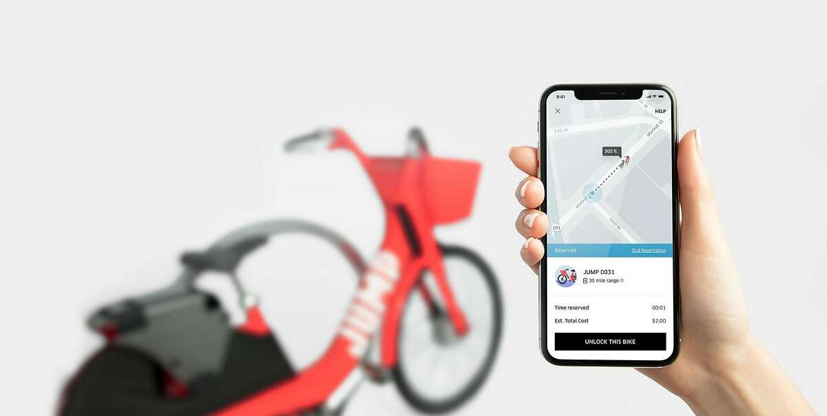 In a photo provided by Uber, a bike-sharing service provided by the Uber app in conjunction with Jump Bikes. Beginning in February 2018, Uber is testing bike sharing in San Francisco, but has declined to detail whether the test was a prelude to a similar service in other locations.