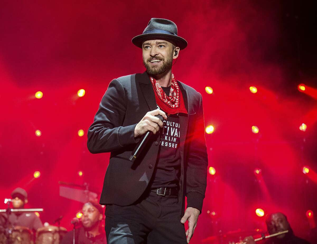 FILE - In this Sept. 23, 2017 file photo, Justin Timberlake performs at the Pilgrimage Music and Cultural Festival in Franklin, Tenn. Timberlake previewed his new album �Man of the Woods� Tuesday, Jan. 16, 2018, at a venue that was decorated with bushes and trees, and served ants coated in black garlic and rose oil and grasshoppers, showcasing the album�s theme. Timberlake, who will headline next month�s Super Bowl halftime show, worked again with his mega-producer Timbaland on the album. First single and album opener, �Filthy,� debuted at No. 9 on the Billboard Hot 100 chart this week. (Photo by Amy Harris/Invision/AP, File)