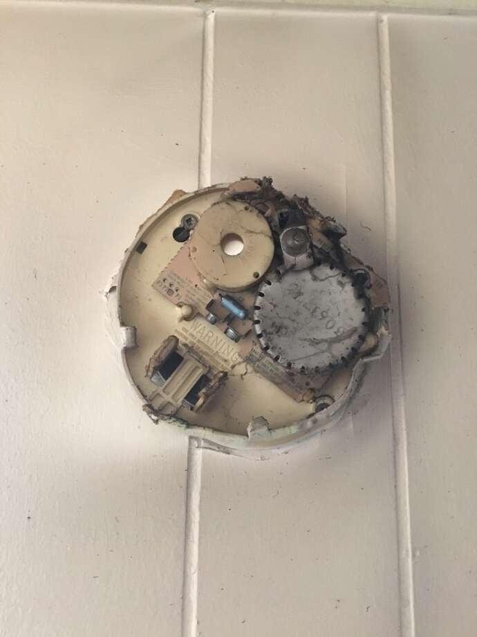 A smoke-damaged  fire alarm on the wall of Willis home were a small fire broke out Wednesday shows it did not have working batteries. No one was hurt in the fire.