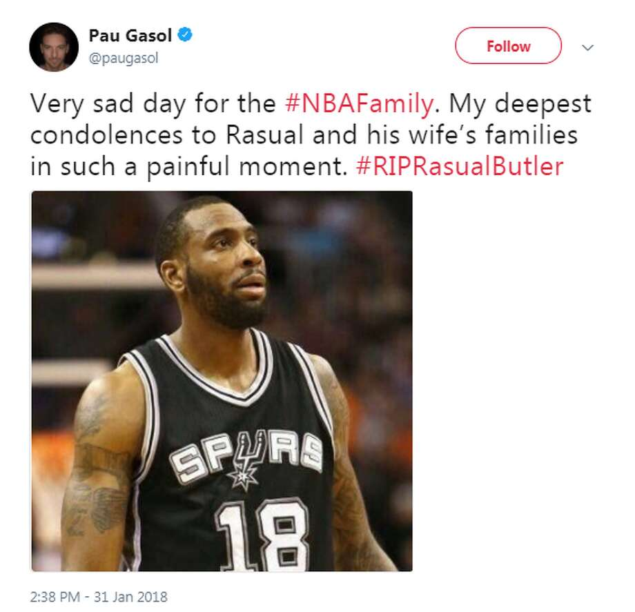 Paul Gasol:   Very sad day for the #NBAFamily. My deepest condolences to Rasual and his wife's families in such a painful moment. #RIPRasualButler