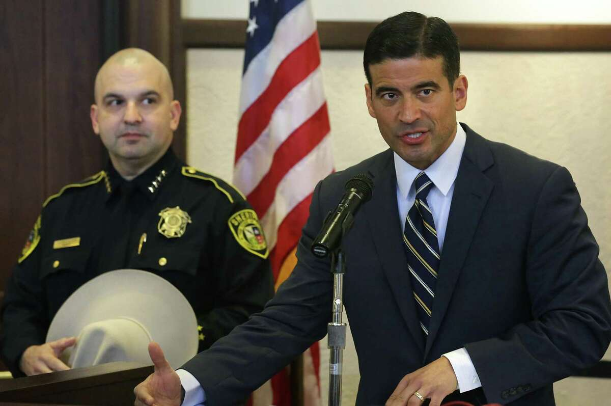 Bexar County District Attorney Nico LaHood, right, holds a press conference with Bexar County Sheriff Javier Salazar, presenting the newly-implemented cite-and-release program, on Wednesday, Jan. 31, 2018 at the Bexar County Courthouse.