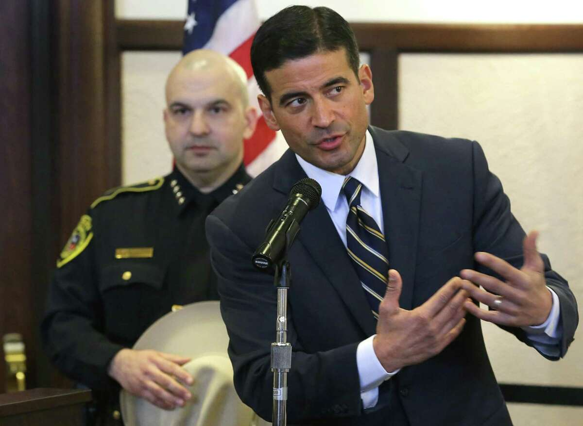 Bexar County District Attorney Nico LaHood, shown here at a press conference with Bexar County Sheriff Javier Salazar Jan. 31, wants taxpayers to fund his defense against a complaint against him with the State Bar. The public has a right to know the substance of that complaint.