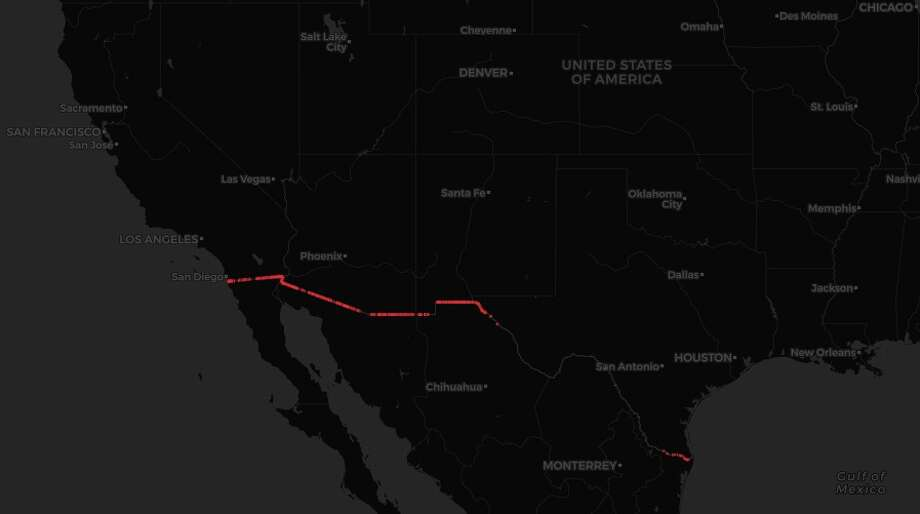 map all the existing portions of usmexico border fence