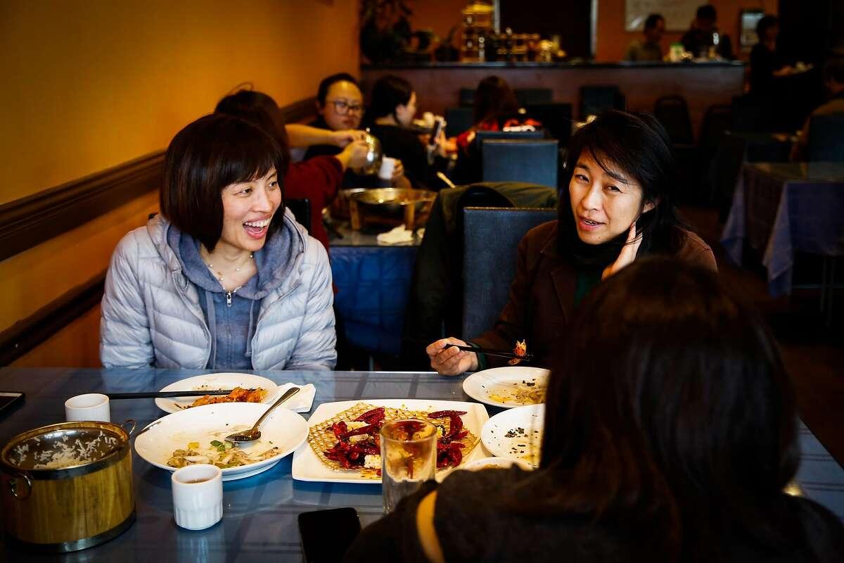 (l-r) Dandan Limketkai, Jeannette Bernardo and Jane Koa dine at Chef Zhao Bistro in San Mateo, California, on Wednesday, Jan. 10, 2018.