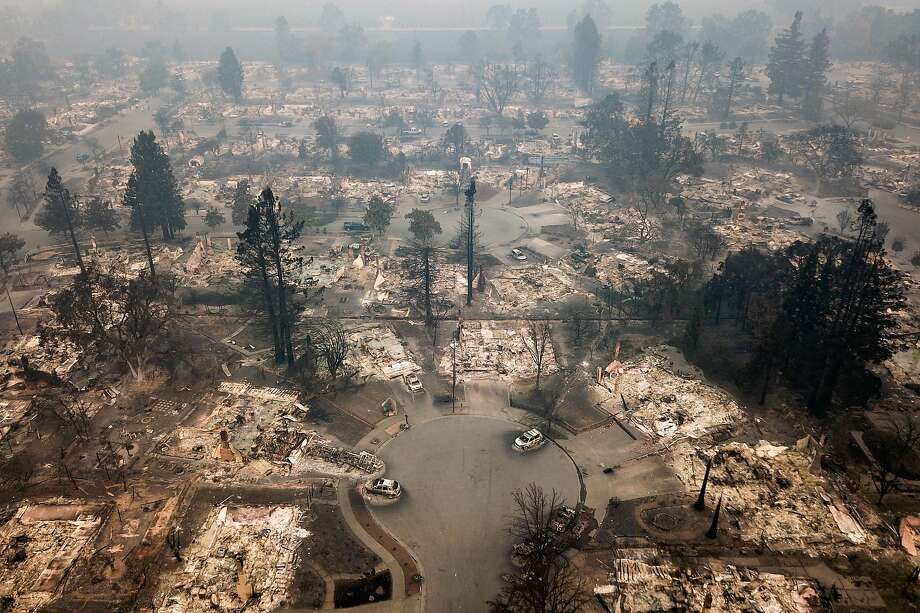 The remains of the homes in the Coffey Park neighborhood are seen from the air in Santa Rosa, Calif. on Tuesday, October 10, 2017. Photo: Elijah Nouvelage / Special To The Chronicle 2017