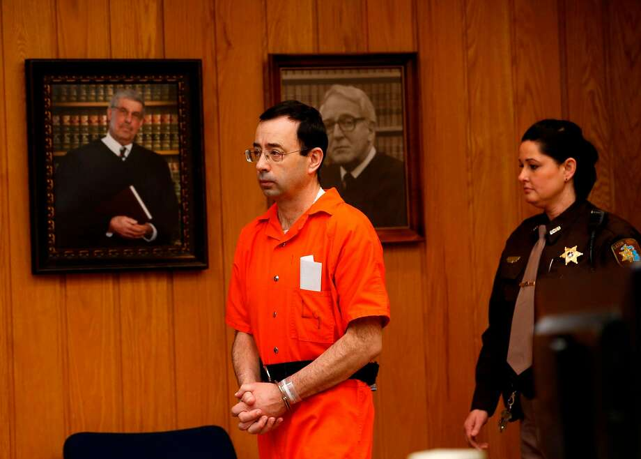 Former doctor Larry Nassar faces another long prison sentence on top of the two he has already received at a final hearing in Eaton County Circuit Court in Charlotte, Mich. Photo: JEFF KOWALSKY, AFP/Getty Images