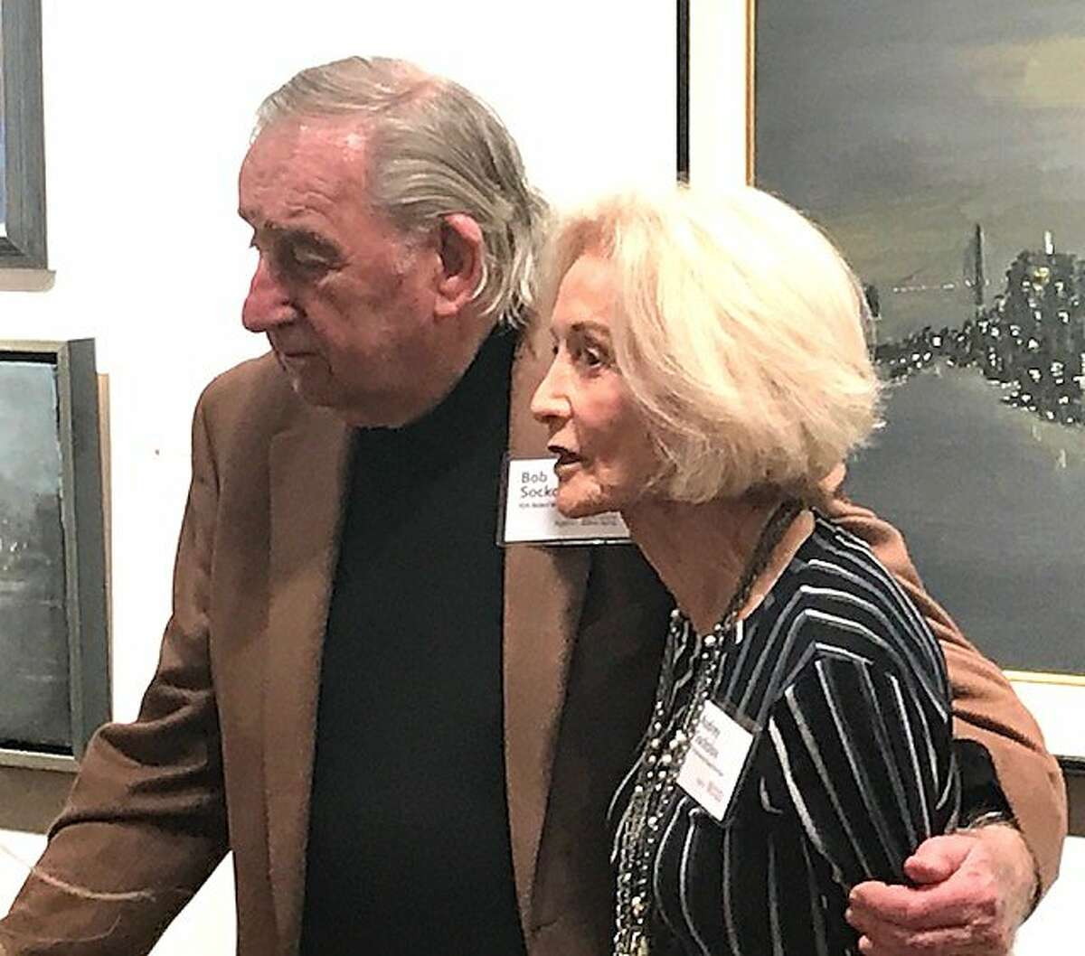 Bob and Audrey Sockolov at exhibition at Caldwell Snyder Gallery