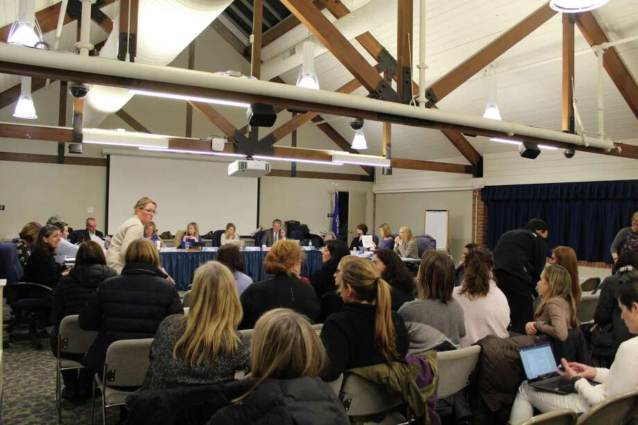 Darien parents gathered to give feedback on the proposed budget for the 2018-19 school year at a Board of Education meeting in Darien on Jan. 30. Photo: Erin Kayata / Hearst Connecticut Media / Darien News