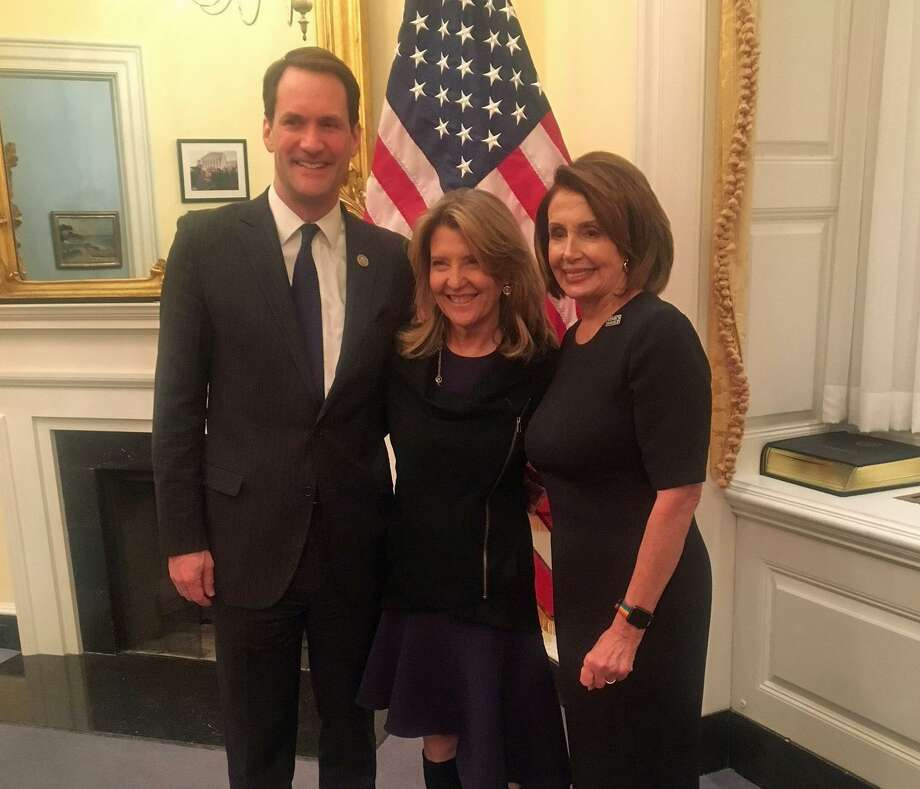 Cindi Bigelow, CEO of Bigelow Tea, with U.S. Rep. Jim Himes, left, and Senate Minority Leader Nancy Pelosi prior to Tuesday's State of the Union address. Photo: Contributed Photo / Fairfield Citizen